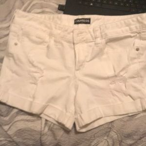 White Express Distressed Denim Shorts